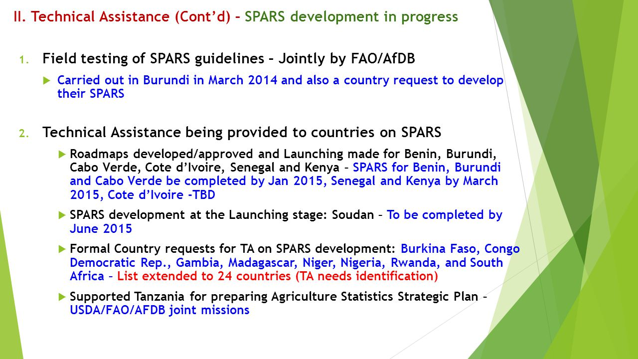 II. Technical Assistance (Cont'd) – SPARS development in progress 1. Field testing of SPARS guidelines – Jointly by FAO/AfDB  Carried out in Burundi