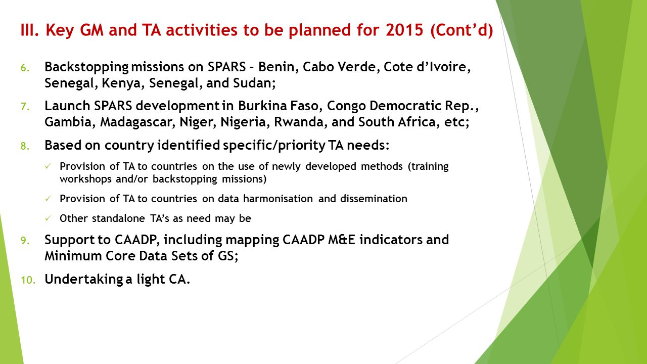 III. Key GM and TA activities to be planned for 2015 (Cont'd) 6. Backstopping missions on SPARS - Benin, Cabo Verde, Cote d'Ivoire, Senegal, Kenya, Se
