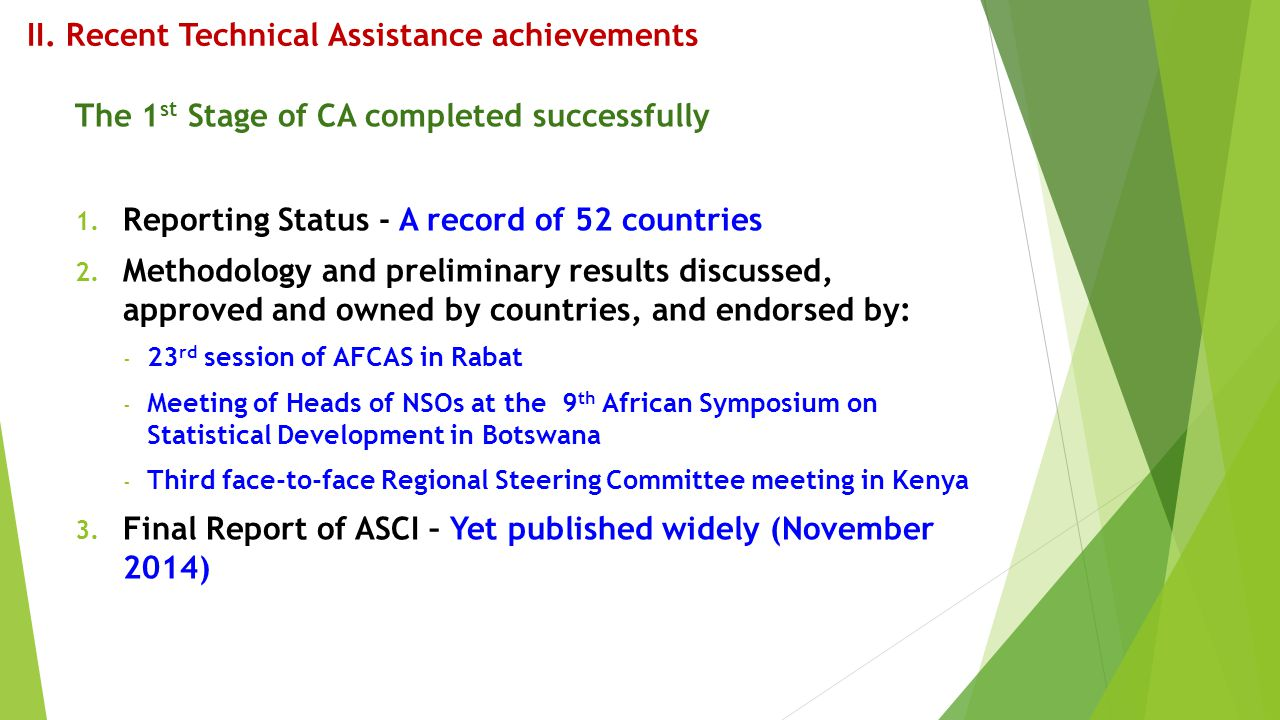 II. Recent Technical Assistance achievements The 1 st Stage of CA completed successfully 1. Reporting Status - A record of 52 countries 2. Methodology