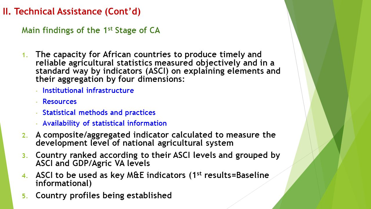 II.Technical Assistance (Cont'd) Main findings of the 1 st Stage of CA 1.