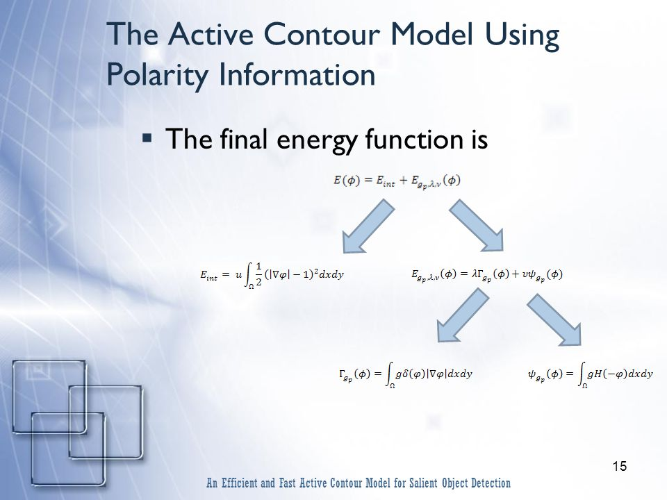 15 The Active Contour Model Using Polarity Information  The final energy function is An Efficient and Fast Active Contour Model for Salient Object Detection