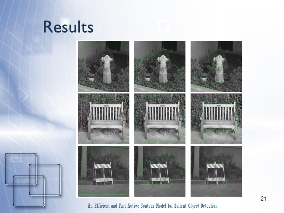 21 Results An Efficient and Fast Active Contour Model for Salient Object Detection