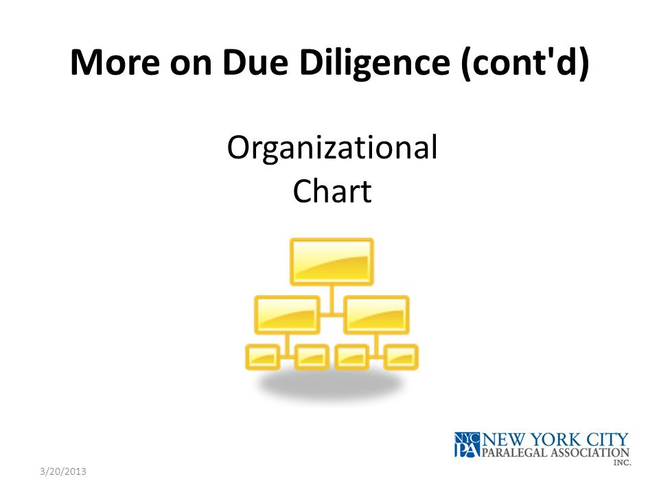 More on Due Diligence (cont'd) Organizational Chart 3/20/2013