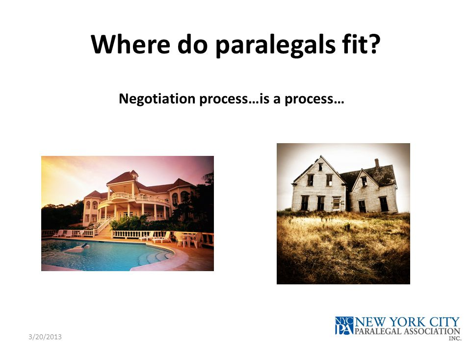 Where do paralegals fit? Negotiation process…is a process… 3/20/2013
