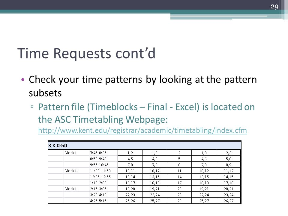 Time Requests cont'd Check your time patterns by looking at the pattern subsets ▫ Pattern file (Timeblocks – Final - Excel) is located on the ASC Timetabling Webpage: http://www.kent.edu/registrar/academic/timetabling/index.cfm http://www.kent.edu/registrar/academic/timetabling/index.cfm 29