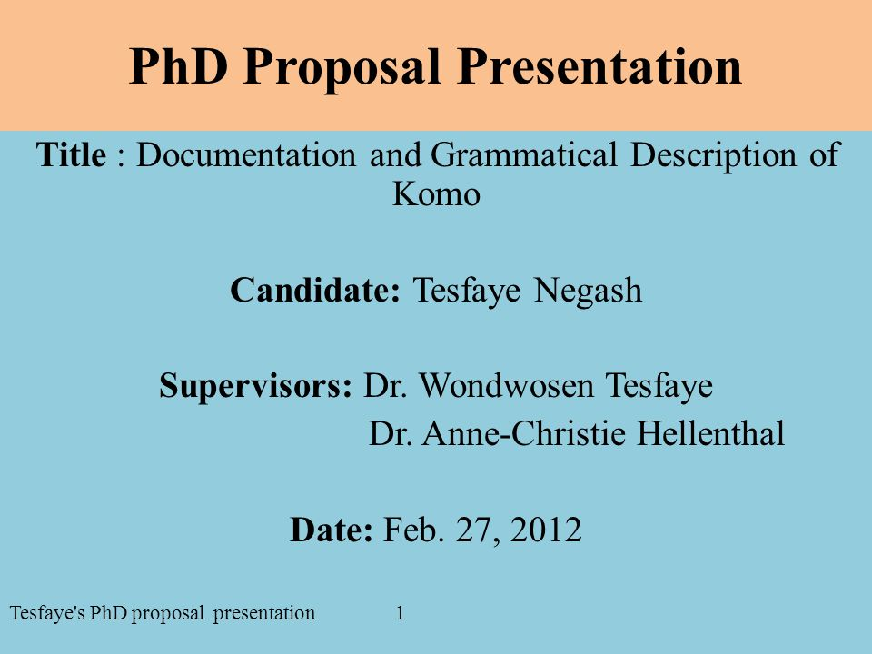 PhD Proposal Presentation Title : Documentation and Grammatical Description of Komo Candidate: Tesfaye Negash Supervisors: Dr.