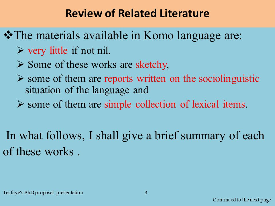 Review of Related Literature  The materials available in Komo language are:  very little if not nil.  Some of these works are sketchy,  some of th