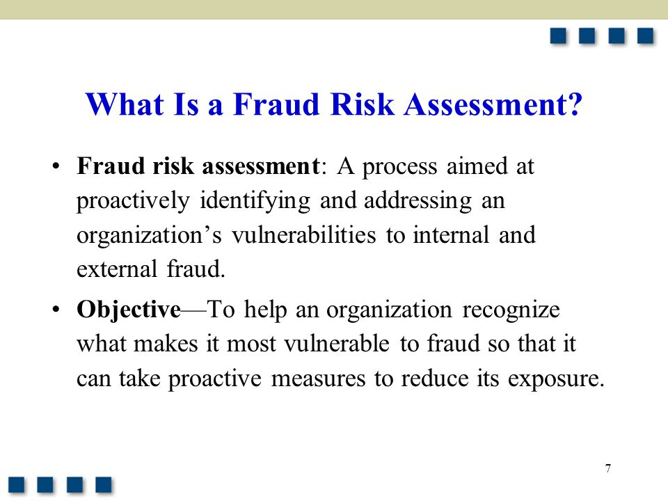 18 Executing the Fraud Risk Assessment (Cont'd) Evaluating which people and departments are most likely to commit fraud and identifying the methods they are likely to use Identifying and mapping existing preventive and detective controls to the relevant fraud –Preventive controls –Detective controls