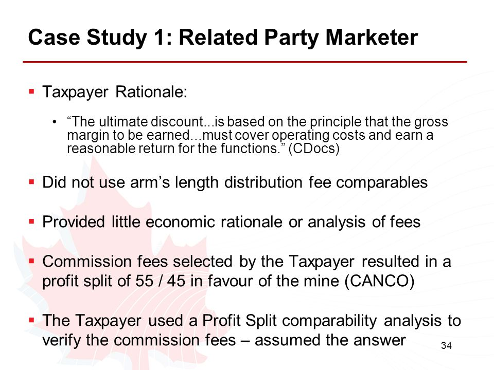 """34 Case Study 1: Related Party Marketer  Taxpayer Rationale: """"The ultimate discount...is based on the principle that the gross margin to be earned..."""