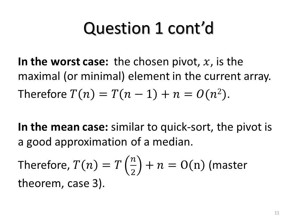 Question 1 cont'd 11