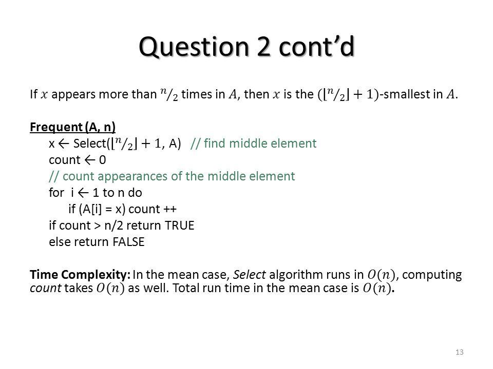 Question 2 cont'd 13