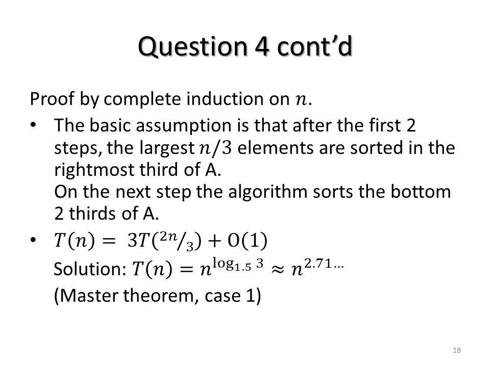 Question 4 cont'd 18