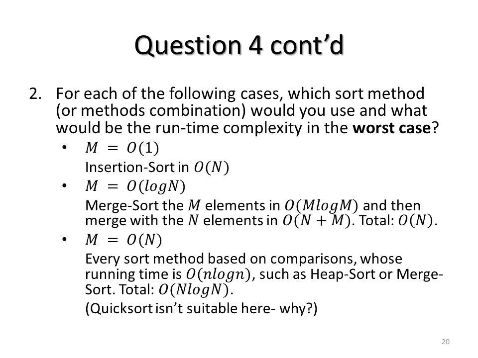 Question 4 cont'd 20