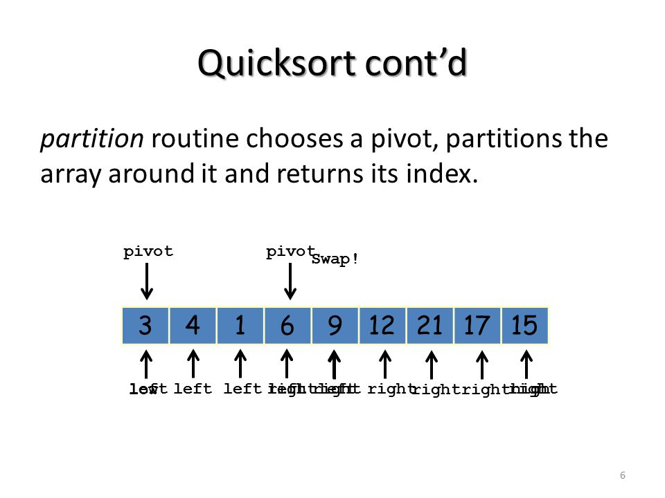 Quicksort cont'd partition routine chooses a pivot, partitions the array around it and returns its index.