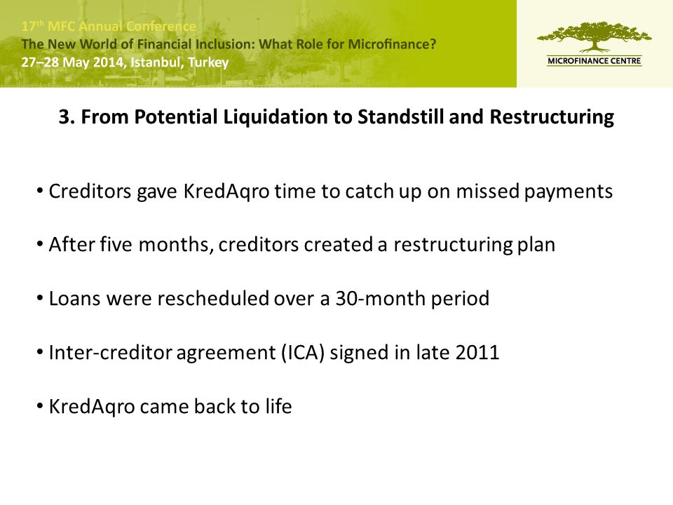 3. From Potential Liquidation to Standstill and Restructuring Creditors gave KredAqro time to catch up on missed payments After five months, creditors