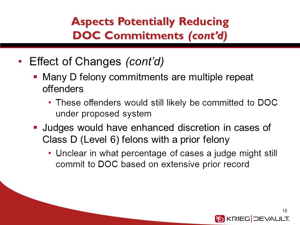 Potential for Management of Offenders at County Level Not at all certain that the provisions would lead to any significant increase in jail commitments Provisions to streamline and provide additional options to Probation offices already passed by legislature/required by Indiana Judicial conference 17