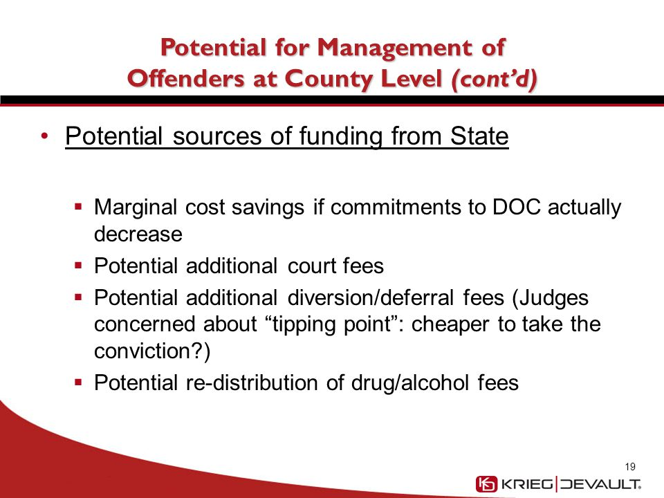 Potential for Management of Offenders at County Level (cont'd) Potential sources of funding from State (cont'd)  DOC working to identify funds for: Additional counties for Community Corrections (CC)  Counties without CC send more D felons to DOC than those with CC (fewer options available)  In 2011, DOC was able to shift $6 million in additional dollars to CC in the counties Other community supervision services (probation) 20