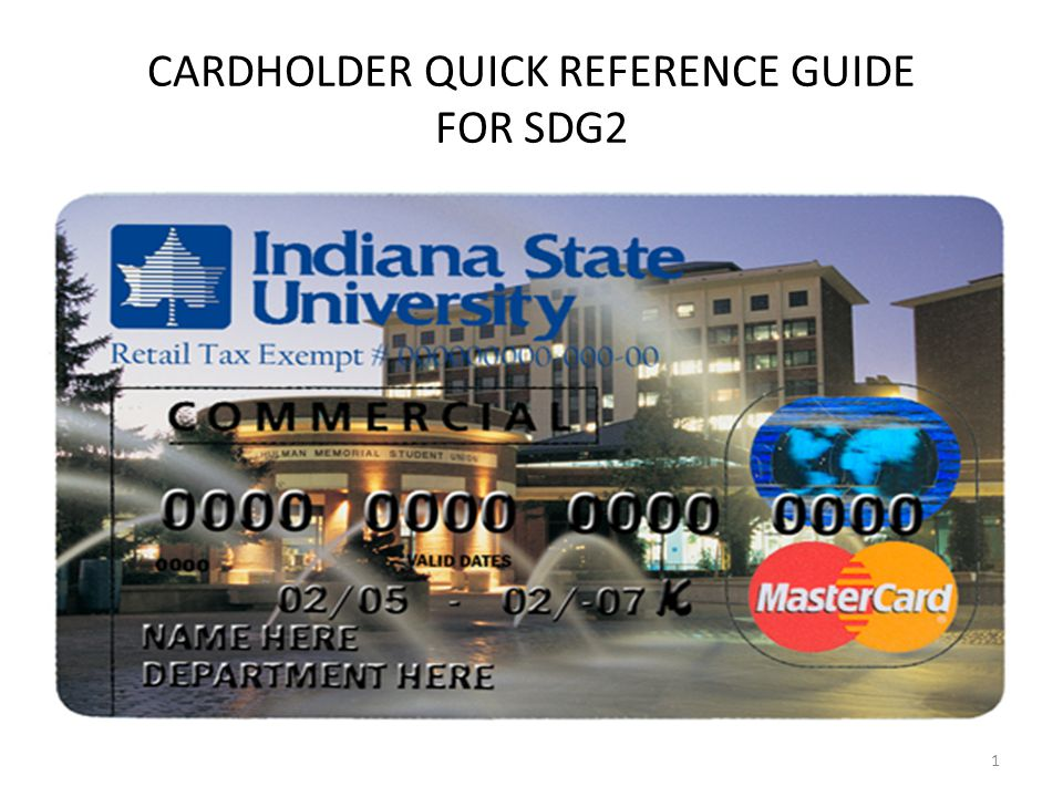 CARDHOLDER QUICK REFERENCE GUIDE FOR SDG2 1
