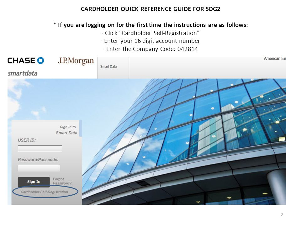 CARDHOLDER QUICK REFERENCE GUIDE FOR SDG2 * If you are logging on for the first time the instructions are as follows: · Click