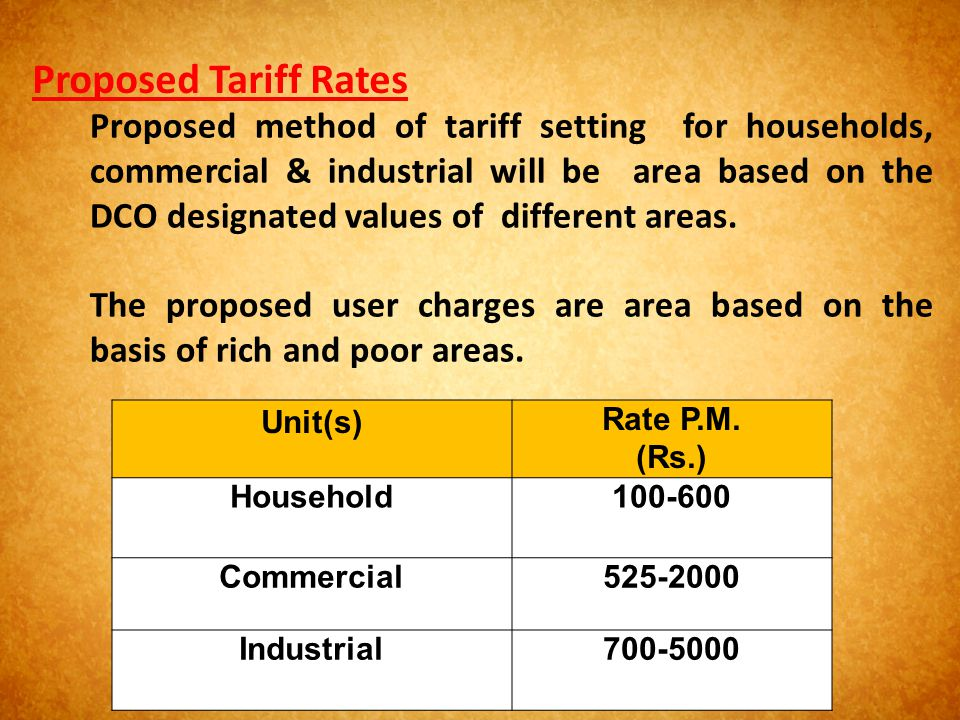 Unit(s)Rate P.M. (Rs.) Household100-600 Commercial525-2000 Industrial700-5000 Proposed Tariff Rates Proposed method of tariff setting for households,