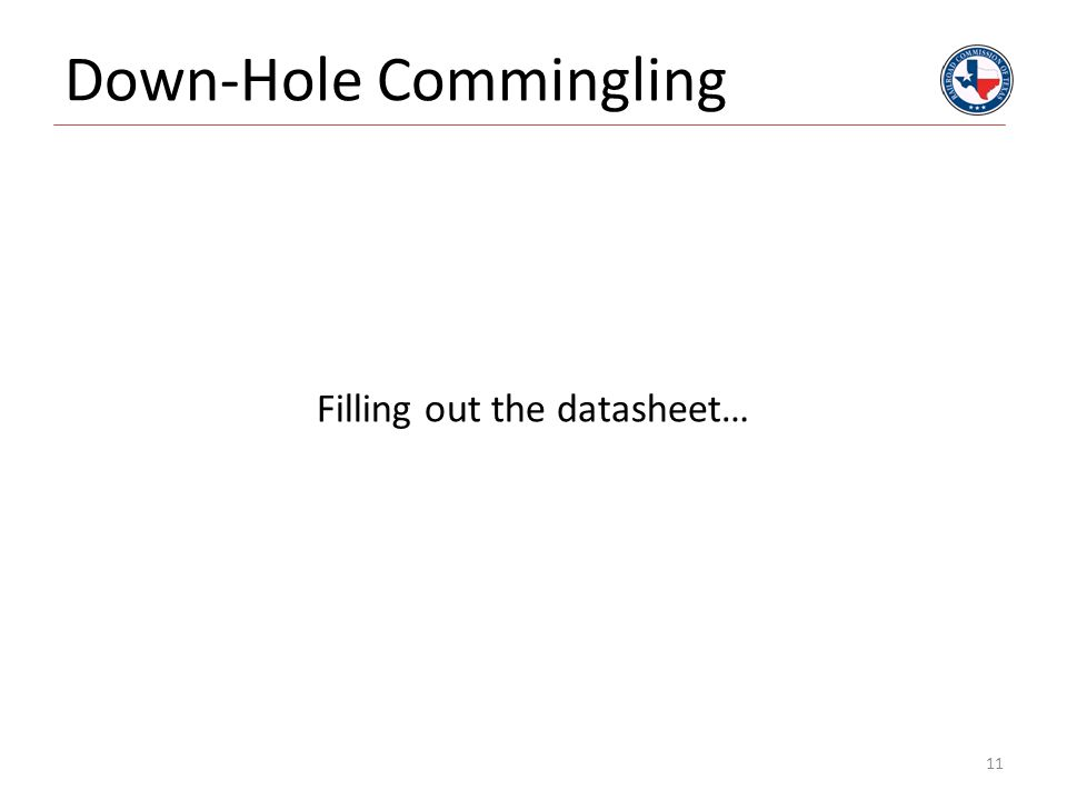 Down-Hole Commingling Filling out the datasheet… 11