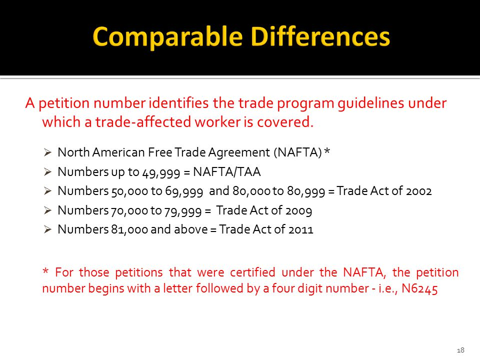 A petition number identifies the trade program guidelines under which a trade-affected worker is covered.