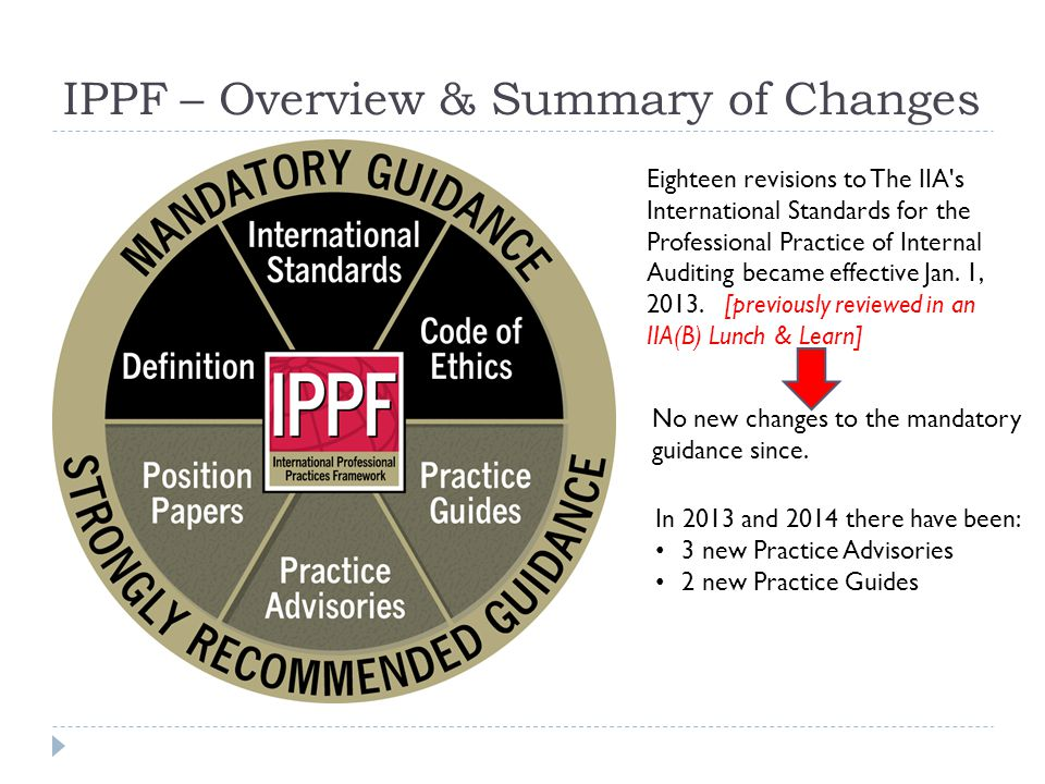 IPPF – Overview & Summary of Changes Eighteen revisions to The IIA s International Standards for the Professional Practice of Internal Auditing became effective Jan.