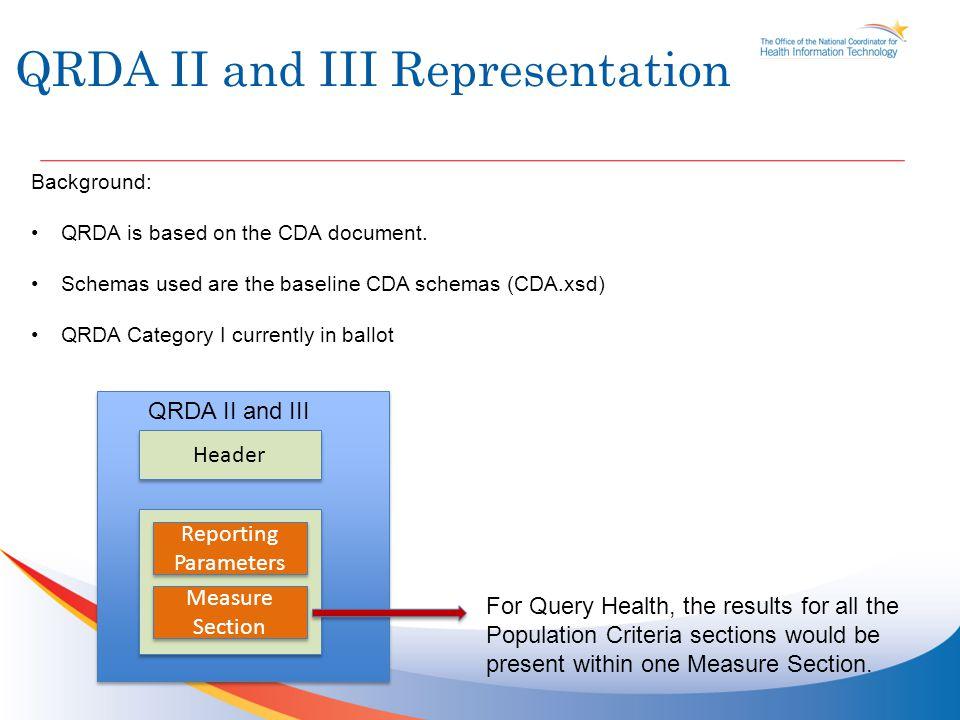 QRDA II and III Representation Background: QRDA is based on the CDA document. Schemas used are the baseline CDA schemas (CDA.xsd) QRDA Category I curr