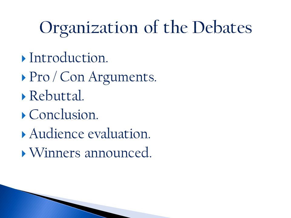  Source for image: Teaching Speaking Skills: Debates in the ESL Classroom. On TESOL: How to Teach English.