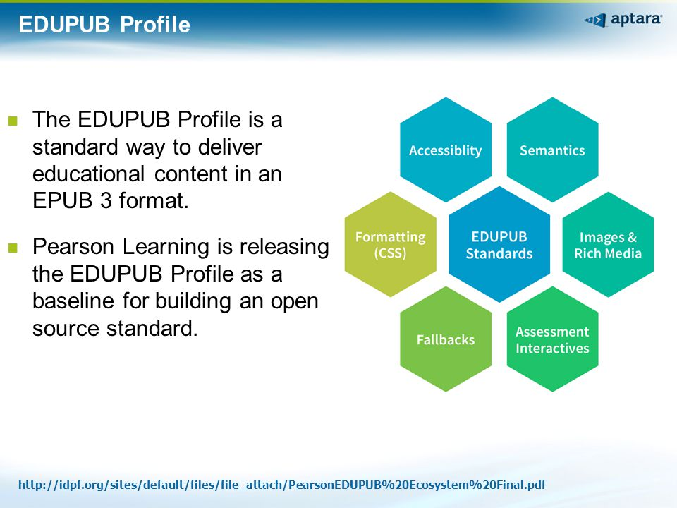EDUPUB Profile The EDUPUB Profile is a standard way to deliver educational content in an EPUB 3 format. Pearson Learning is releasing the EDUPUB Profi