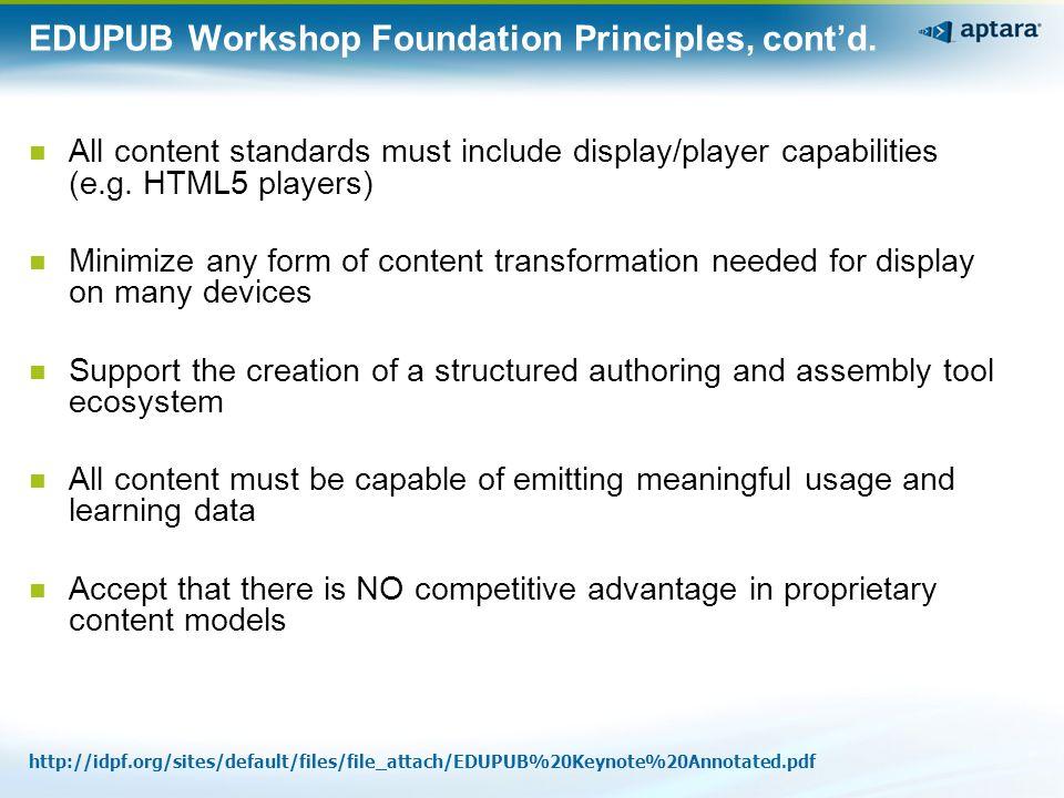 EDUPUB2 Workshop Agenda Topics, cont'd.