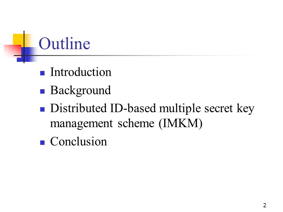 Network initialization (Cont'd) Key extraction: CH i submits his identity information to PKG.