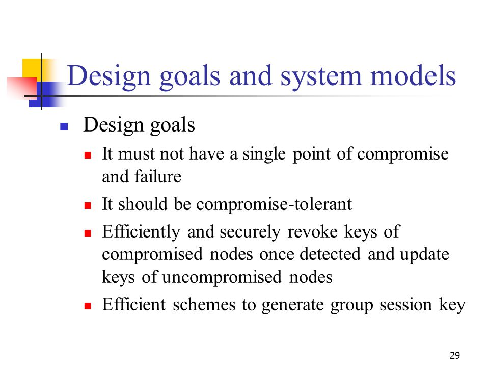 Design goals and system models Design goals It must not have a single point of compromise and failure It should be compromise-tolerant Efficiently and