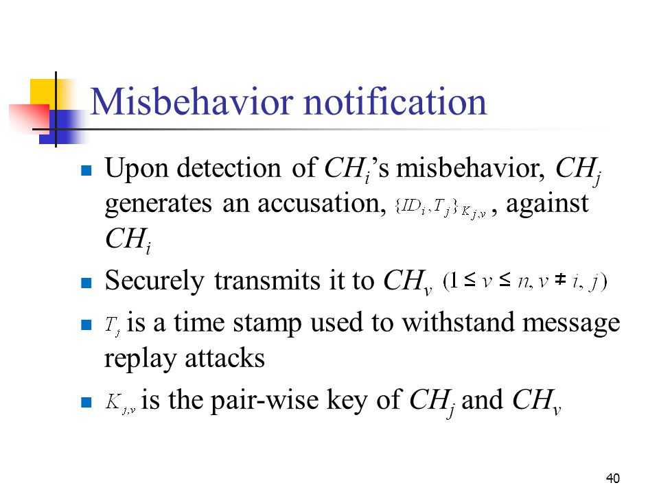 Misbehavior notification Upon detection of CH i 's misbehavior, CH j generates an accusation,, against CH i Securely transmits it to CH v is a time st