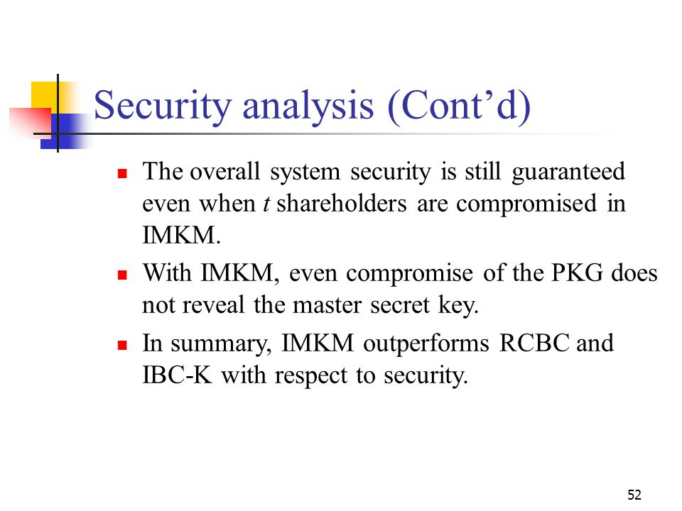 Security analysis (Cont'd) The overall system security is still guaranteed even when t shareholders are compromised in IMKM. With IMKM, even compromis