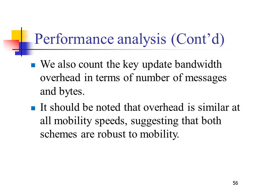 Performance analysis (Cont'd) We also count the key update bandwidth overhead in terms of number of messages and bytes. It should be noted that overhe