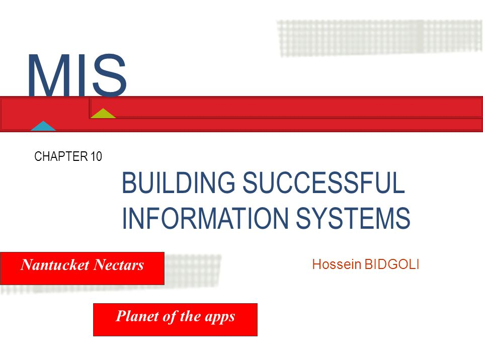 BUILDING SUCCESSFUL INFORMATION SYSTEMS CHAPTER 10 Hossein BIDGOLI MIS Nantucket Nectars Planet of the apps