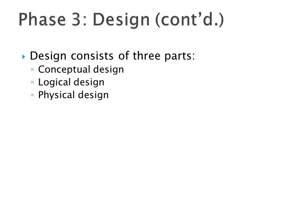  Design consists of three parts: ◦ Conceptual design ◦ Logical design ◦ Physical design