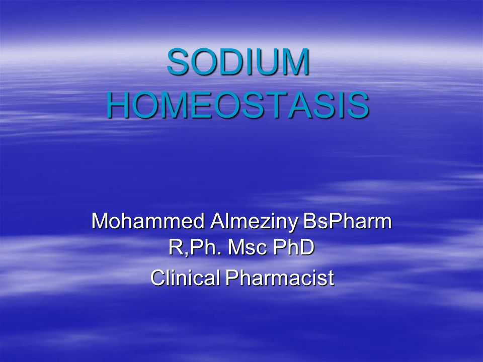 Introduction  Sodium is the principle cation of extracellular fluid  The regulation of osmolarity (80%).