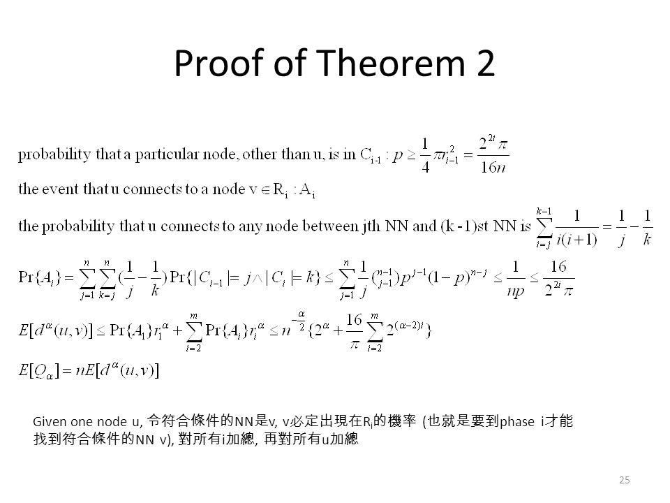 Proof of Theorem 2 25 Given one node u, 令符合條件的 NN 是 v, v 必定出現在 R i 的機率 ( 也就是要到 phase i 才能 找到符合條件的 NN v), 對所有 i 加總, 再對所有 u 加總