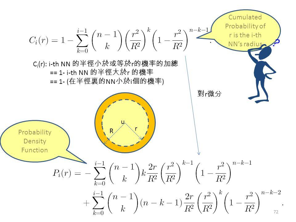 Probability Density Function C i (r): i-th NN 的半徑小於或等於 r 的機率的加總 == 1- i-th NN 的半徑大於 r 的機率 == 1- ( 在半徑裏的 NN 小於 i 個的機率 ) Cumulated Probability of r is the i-th NN's radius 對 r 微分 u r R 72
