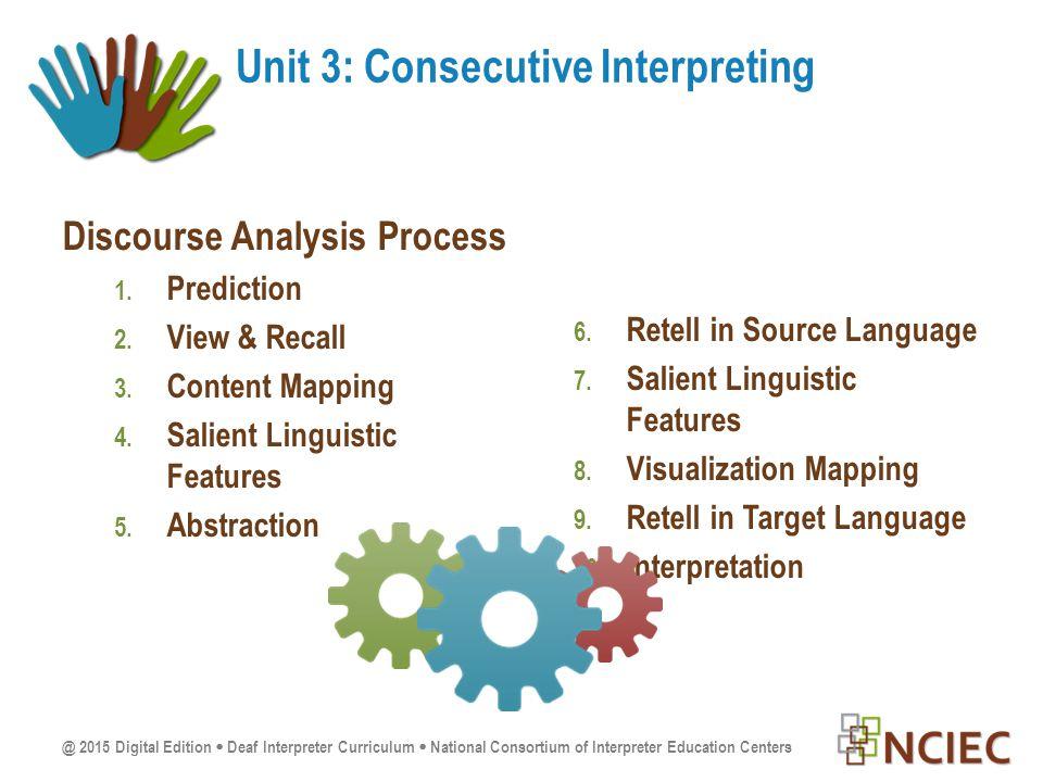@ 2015 Digital Edition  Deaf Interpreter Curriculum  National Consortium of Interpreter Education Centers Discourse Analysis Process 1.