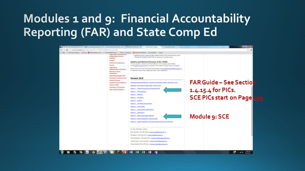 FAR Guide – See Section 1.4.15.4 for PICs. SCE PICs start on Page 493 Module 9: SCE