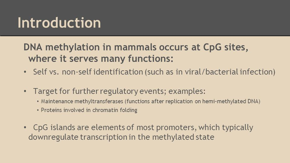 Introduction DNA methylation in mammals occurs at CpG sites, where it serves many functions: Self vs.