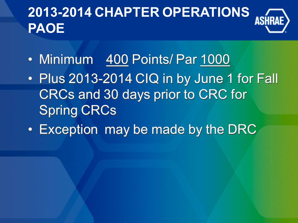 2013-2014 CHAPTER OPERATIONS PAOE Minimum 400 Points/ Par 1000 Plus 2013-2014 CIQ in by June 1 for Fall CRCs and 30 days prior to CRC for Spring CRCs