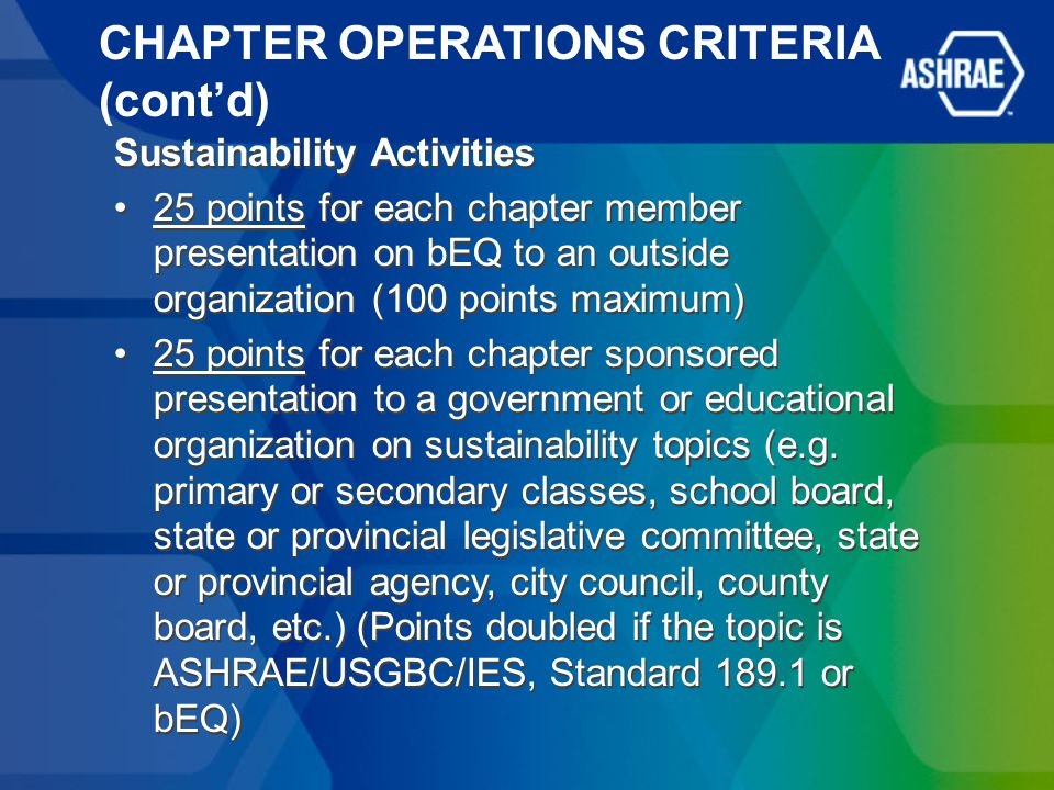 CHAPTER OPERATIONS CRITERIA (cont'd) Sustainability Activities 25 points for each chapter member presentation on bEQ to an outside organization (100 points maximum) 25 points for each chapter sponsored presentation to a government or educational organization on sustainability topics (e.g.