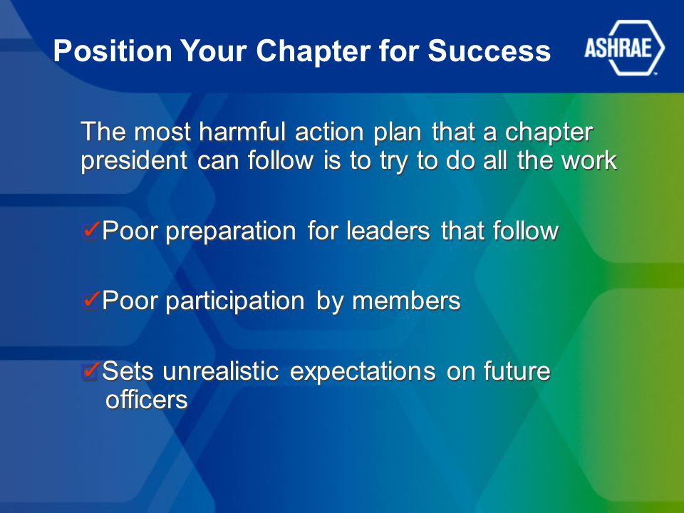 The most harmful action plan that a chapter president can follow is to try to do all the work Poor preparation for leaders that follow Poor participat