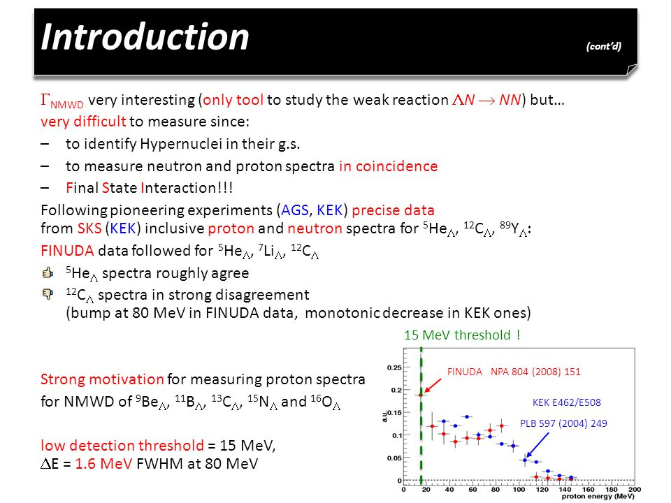 Introduction (cont'd)  NMWD very interesting (only tool to study the weak reaction  N  NN) but… very difficult to measure since: –to identify Hypernuclei in their g.s.