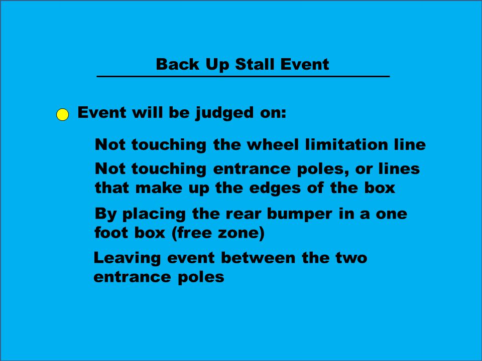 Event will be judged on: Not touching the wheel limitation line Not touching entrance poles, or lines that make up the edges of the box By placing the rear bumper in a one foot box (free zone) Leaving event between the two entrance poles