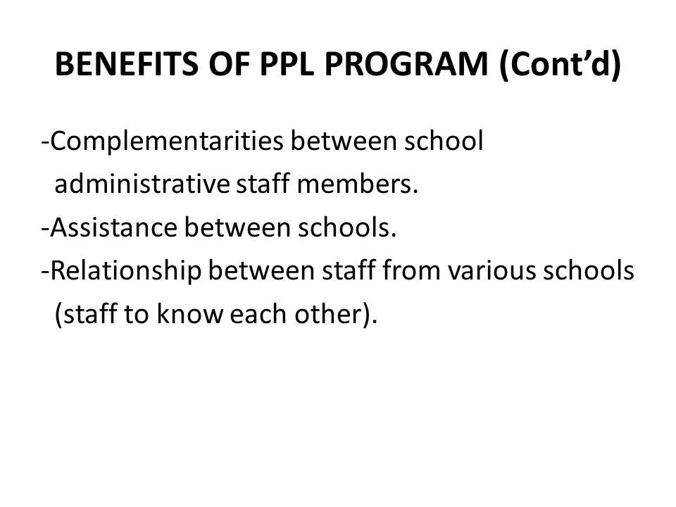 BENEFITS OF PPL PROGRAM (Cont'd) -Complementarities between school administrative staff members. -Assistance between schools. -Relationship between st